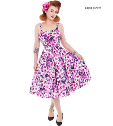 H&R Hearts & Roses London 50s Pin Up Dress 'Echinacea' Purple Flowers All Sizes