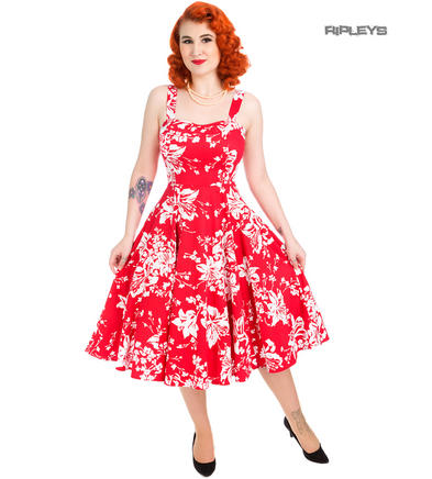 H&R Hearts & Roses London 50s Pin Up Dress 'Regal Lily' Red White All Sizes