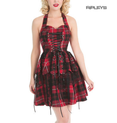 H&R Hearts & Roses London Red Punk Mini Dress 'Pretty Pirate' Tartan All Sizes