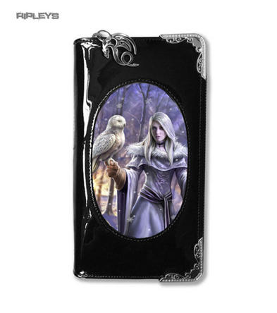 ANNE STOKES 3D Purse Wallet Black PVC Gothic Fairy Snow 'Winter Owl'