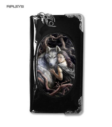 ANNE STOKES 3D Purse Wallet Black PVC Gothic Fairy Wolf 'Soul Bond'