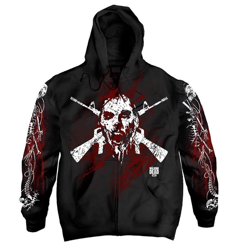 Official-The-Walking-Dead-Black-Hoody-Hoodie-Zombie-BORDER-BONES-Zip-All-Sizes thumbnail 3