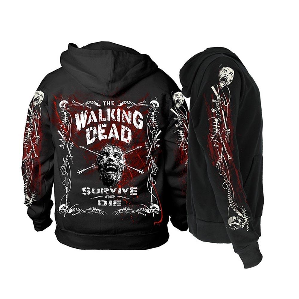 Official-The-Walking-Dead-Black-Hoody-Hoodie-Zombie-BORDER-BONES-Zip-All-Sizes thumbnail 5
