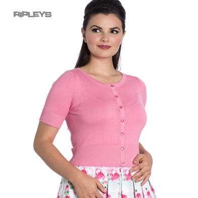 Hell Bunny Ladies 50s WENDI Plain Short Sleeve Cardigan Top Candy Pink All Sizes Preview
