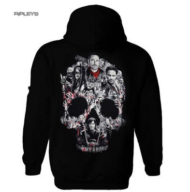 Official The Walking Dead Black Hoody Hoodie Negan MONTAGE Skull Zip All Sizes