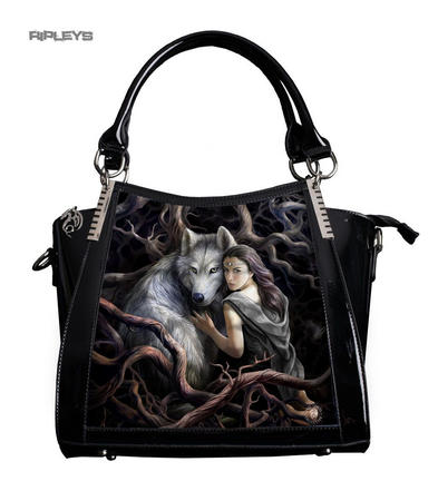 ANNE STOKES 3D Large Hand Bag Black PVC Goth Wolf Princess 'Soul Bond'