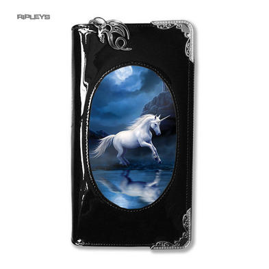 ANNE STOKES 3D Purse Wallet Black PVC Magical Mystic 'Moonlight Unicorn'