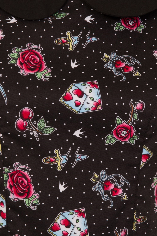 b90c7439a4dc Sentinel Hell Bunny Black Mini Dress Cherry Swallows Polka Dot STEVIE  Tattoo All Sizes