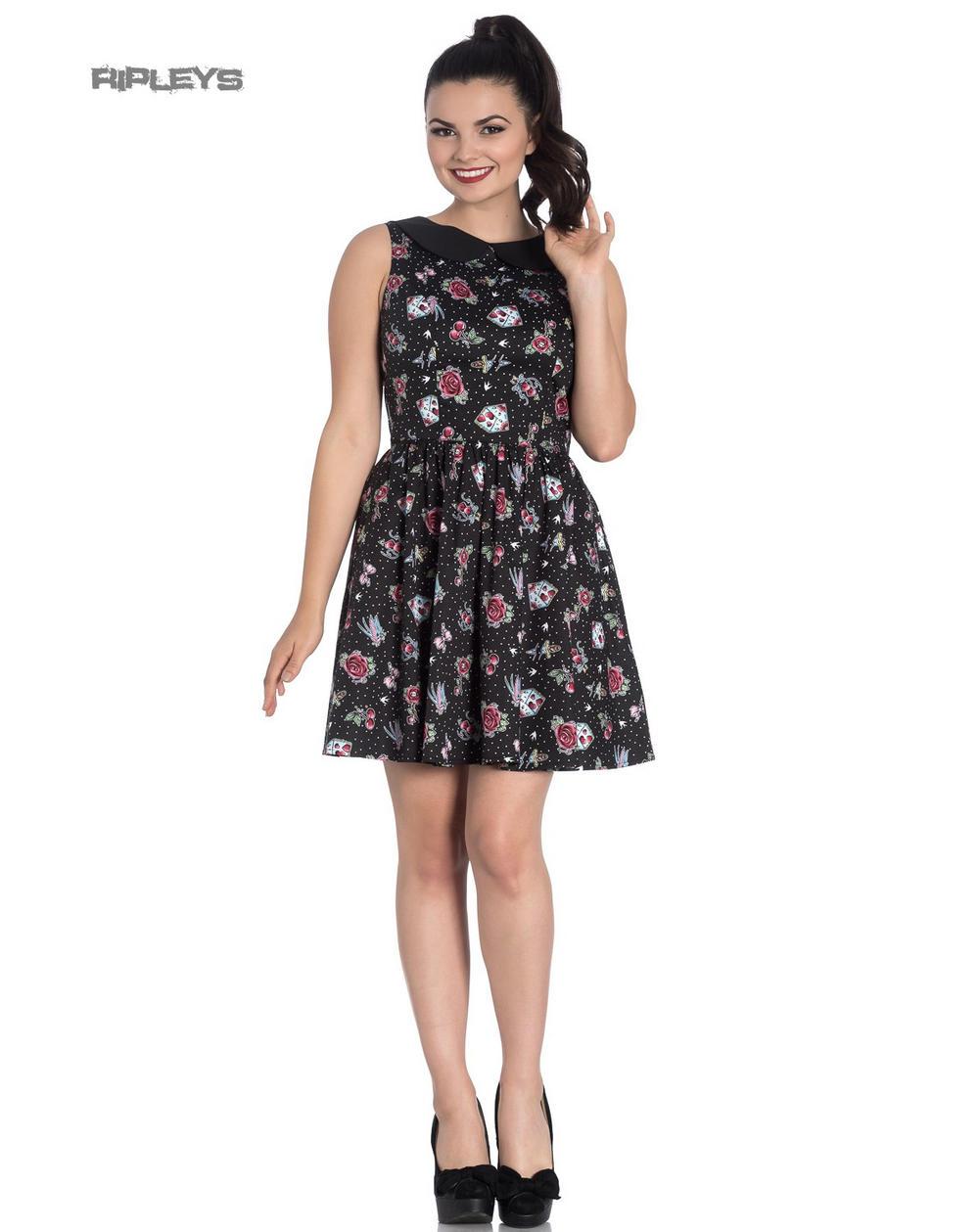 b689f8c9e43e Hell Bunny Black Mini Dress Cherry Swallows Polka Dot STEVIE Tattoo All  Sizes
