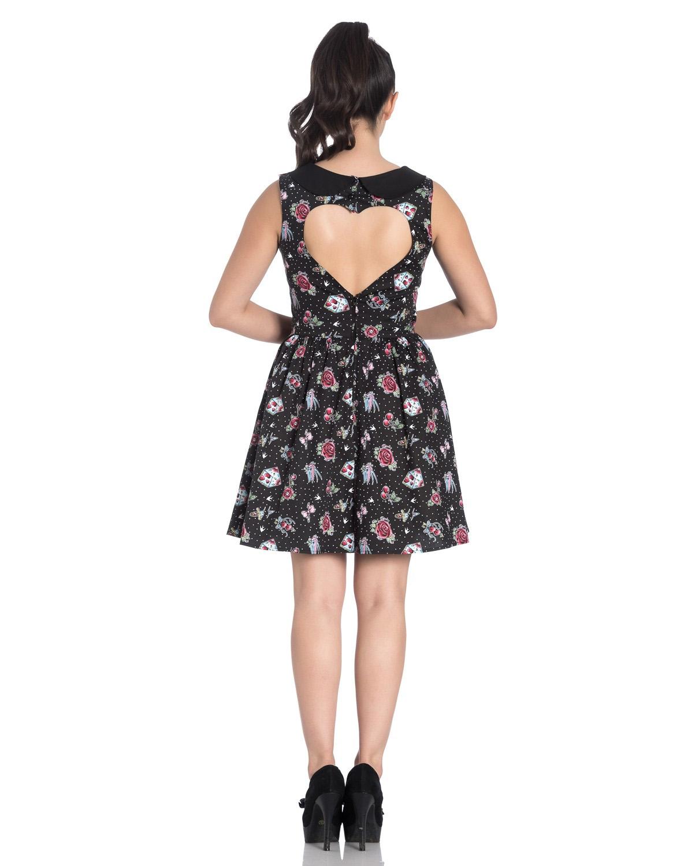 Hell-Bunny-Black-Mini-Dress-Cherry-Swallows-Polka-Dot-STEVIE-Tattoo-All-Sizes thumbnail 5