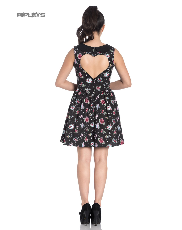 Hell-Bunny-Black-Mini-Dress-Cherry-Swallows-Polka-Dot-STEVIE-Tattoo-All-Sizes thumbnail 4