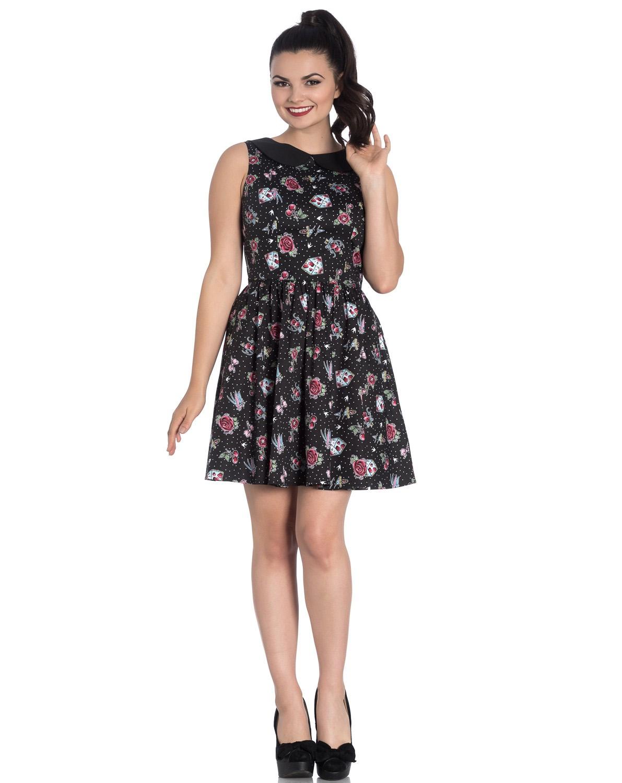 Hell-Bunny-Black-Mini-Dress-Cherry-Swallows-Polka-Dot-STEVIE-Tattoo-All-Sizes thumbnail 3
