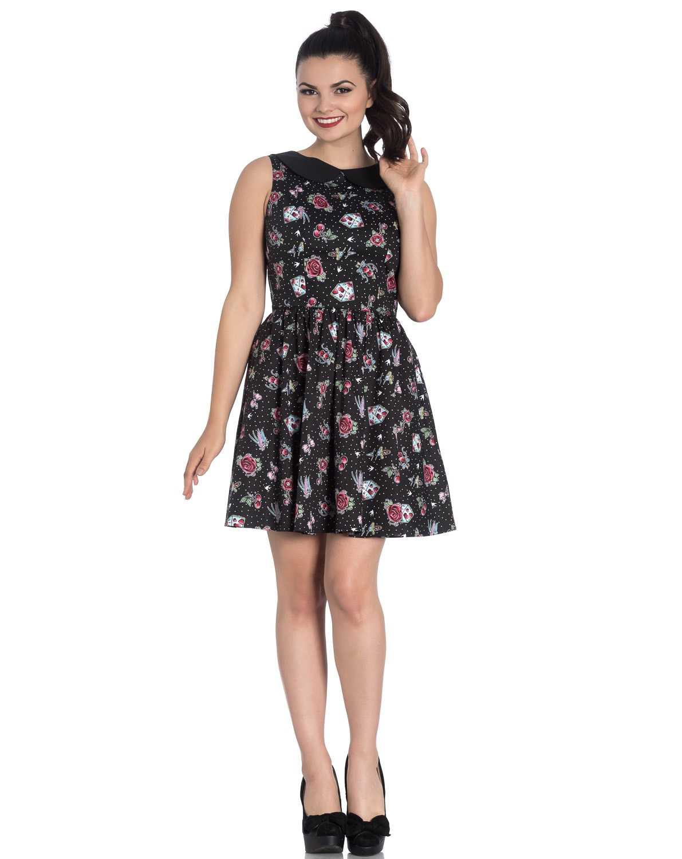 Hell-Bunny-Black-Mini-Dress-Cherry-Swallows-Polka-Dot-STEVIE-Tattoo-All-Sizes thumbnail 8