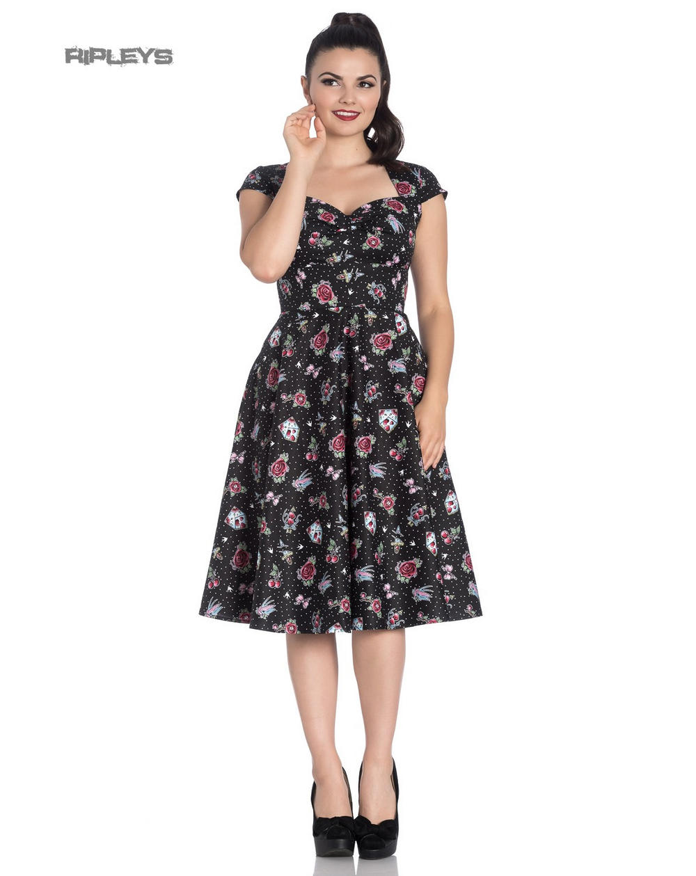 81e929cf5e2 Hell Bunny Pinup 50s Dress Rockabilly Cherry Swallow STEVIE Tattoo All Sizes
