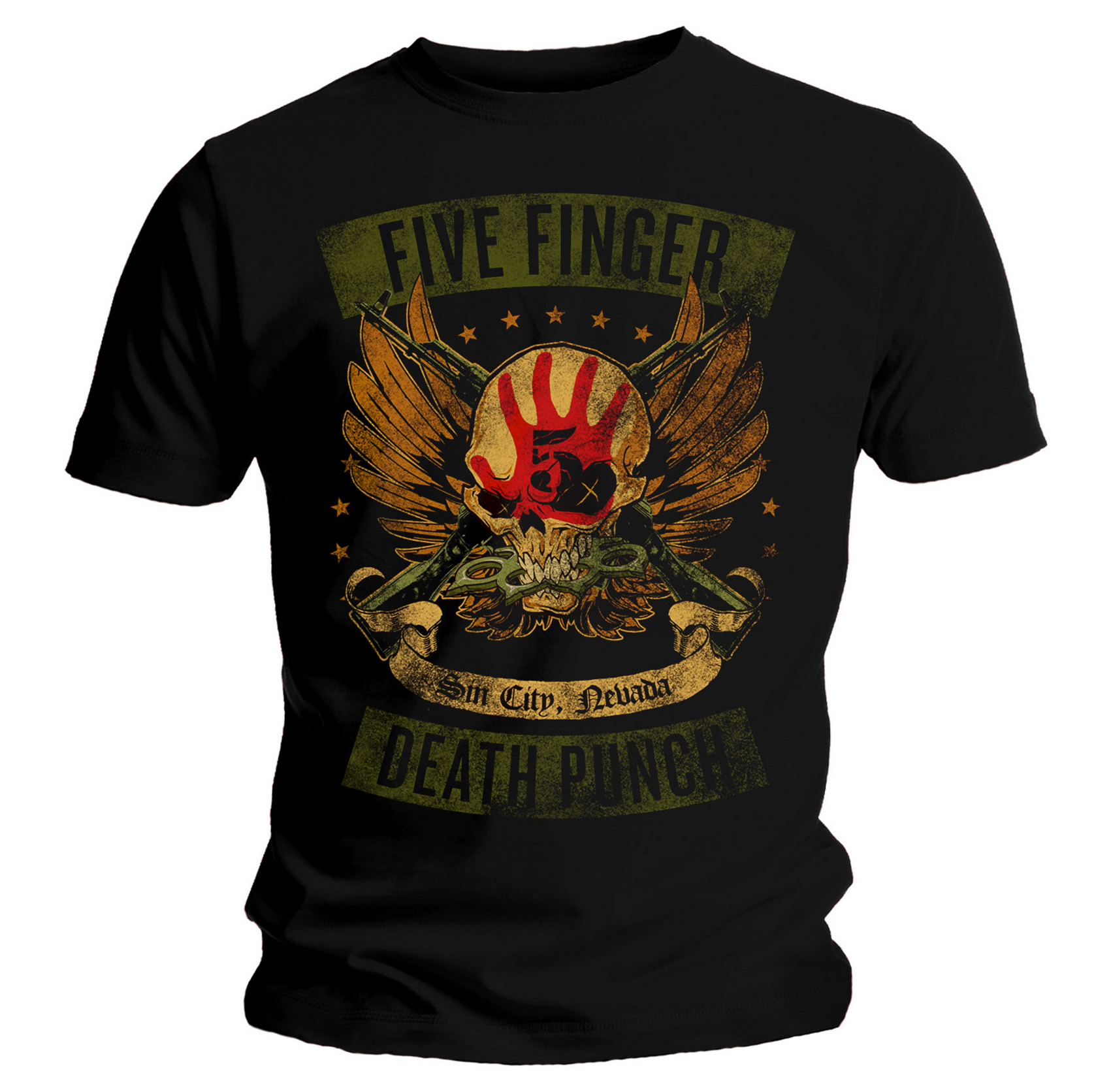 Official-T-Shirt-Five-Finger-Death-Punch-Trouble-039-Locked-amp-Loaded-039-All-Sizes thumbnail 5