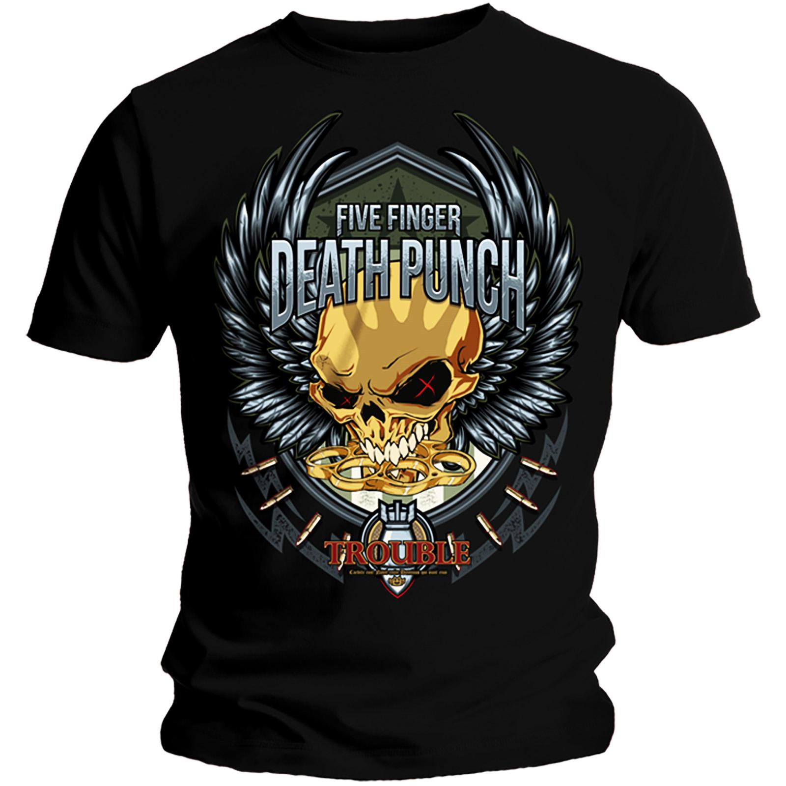 Official-T-Shirt-Five-Finger-Death-Punch-TROUBLE-Decade-of-Destruction-All-Sizes thumbnail 3