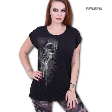 Spiral Direct Ladies T Shirt Black Goth BAT CURSE Dripping Skull Top All Sizes