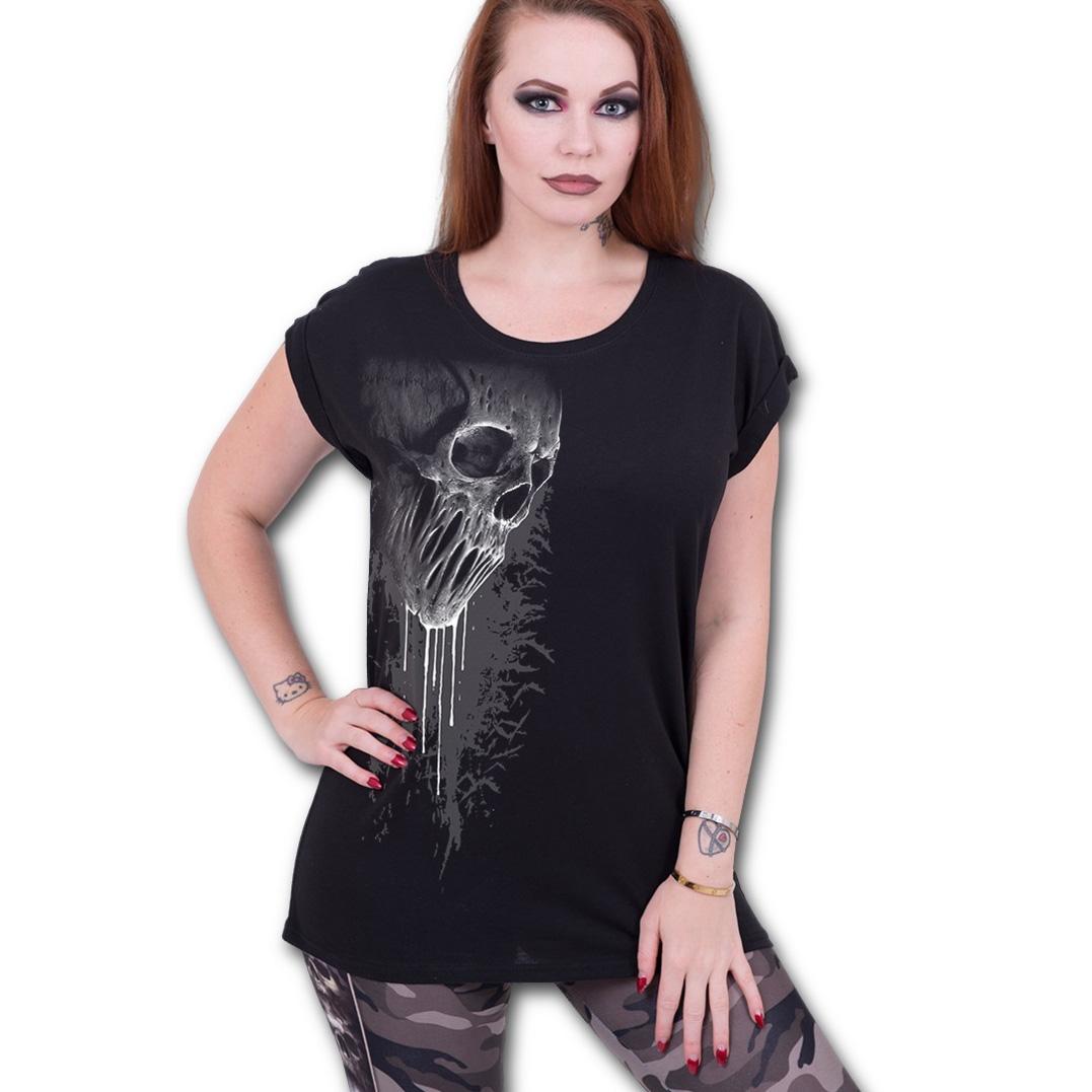 Spiral-Direct-Ladies-T-Shirt-Black-Goth-BAT-CURSE-Dripping-Skull-Top-All-Sizes thumbnail 3