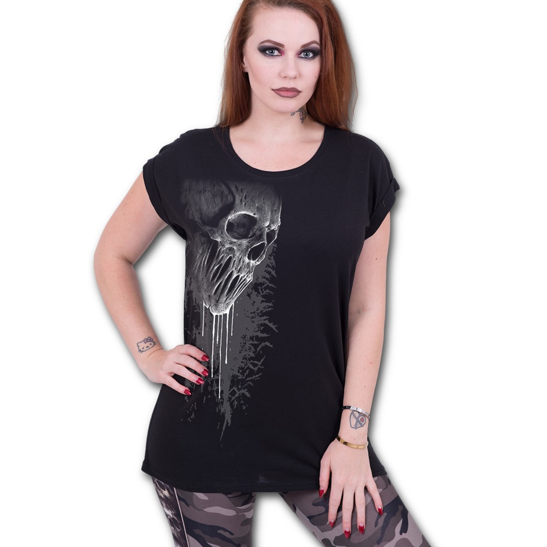 Spiral-Direct-Ladies-T-Shirt-Black-Goth-BAT-CURSE-Dripping-Skull-Top-All-Sizes thumbnail 5