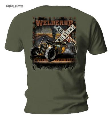 Official WELDERUP Garage Custom Hot Rod T Shirt 'Train Car Rail Road' Rat Rod
