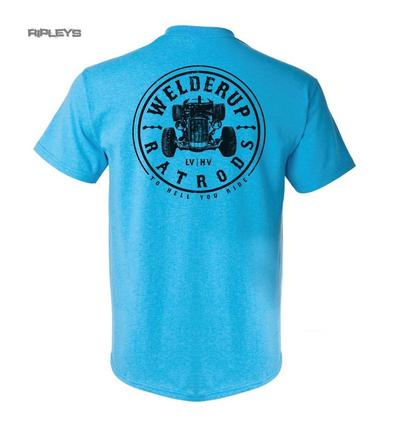 Official WELDERUP Garage Custom Hot Rod T Shirt Blue 'Train Car DECAL' Rat Rod