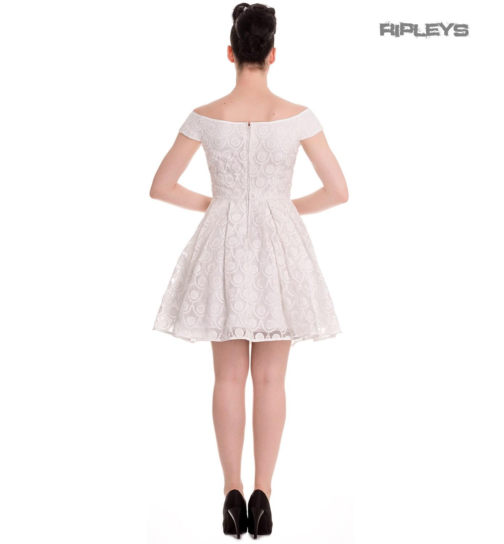 HELL-BUNNY-50s-Pin-up-Party-Mini-Dress-PARIS-Bardot-Ivory-White-All-Sizes thumbnail 4