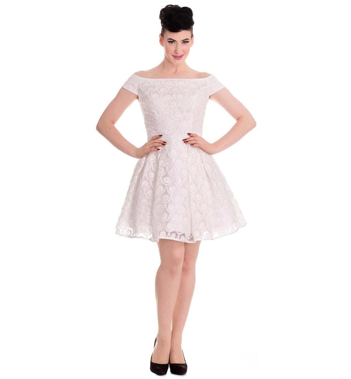 HELL-BUNNY-50s-Pin-up-Party-Mini-Dress-PARIS-Bardot-Ivory-White-All-Sizes thumbnail 3