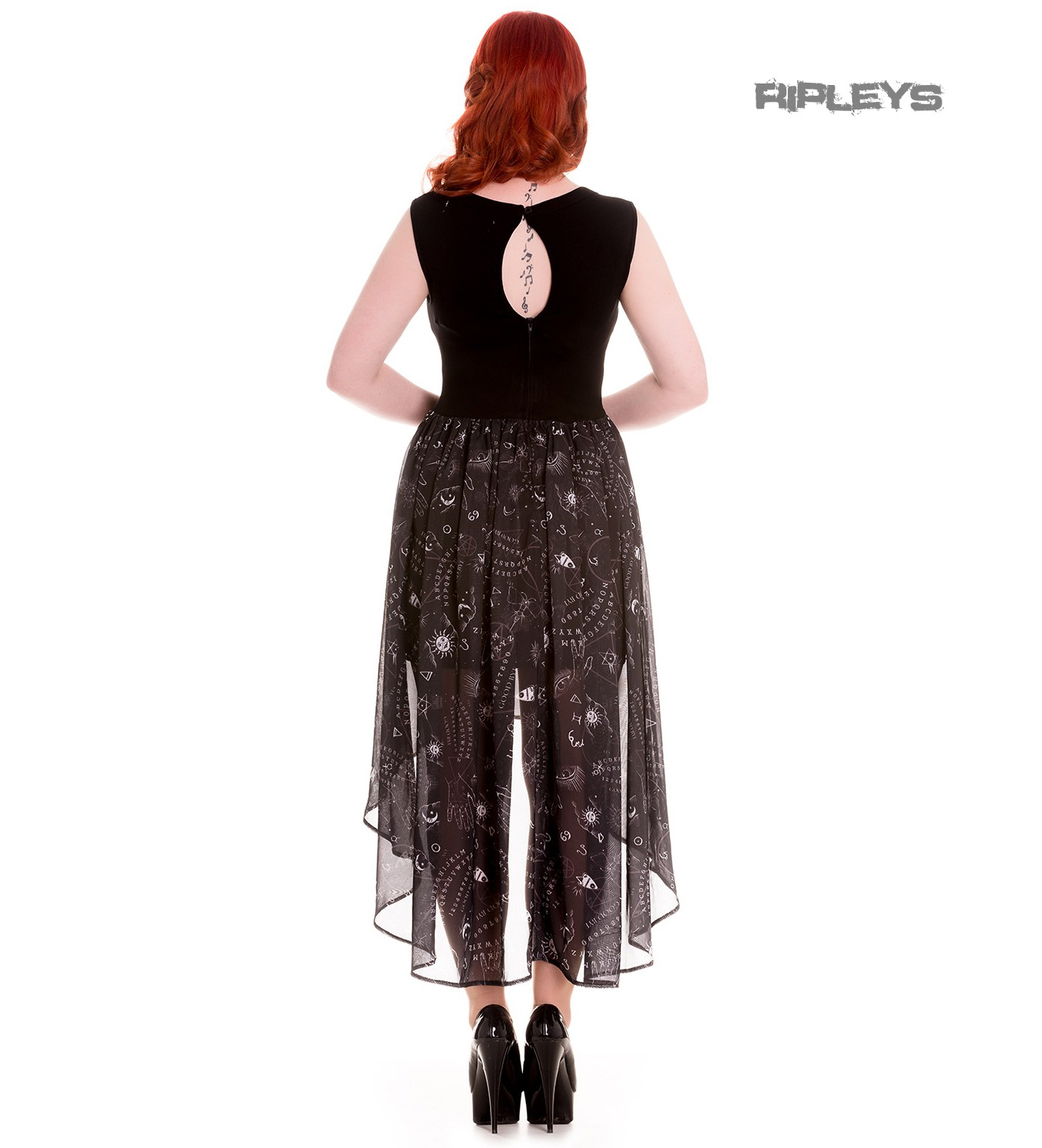 HELL-BUNNY-Spin-Doctor-Goth-Black-Witch-Ouija-SPIRIT-Dress-All-Sizes thumbnail 8