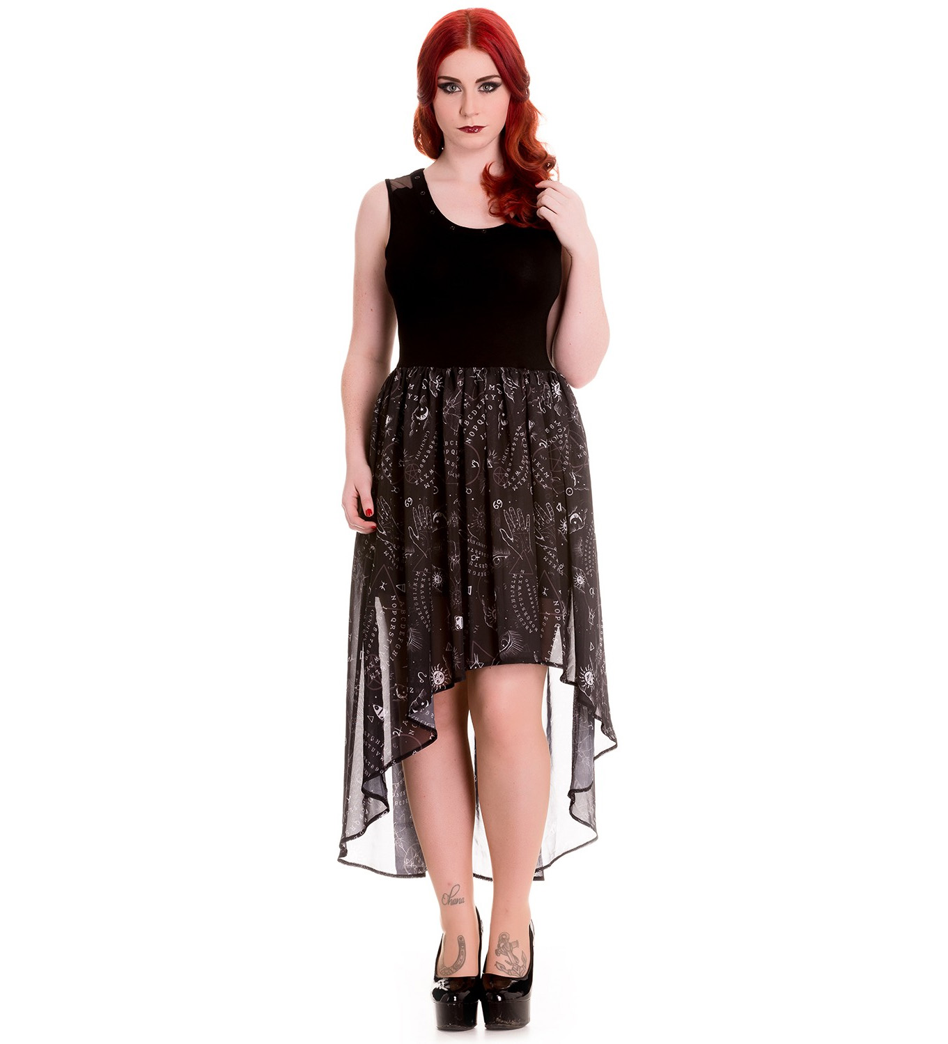 HELL-BUNNY-Spin-Doctor-Goth-Black-Witch-Ouija-SPIRIT-Dress-All-Sizes thumbnail 19