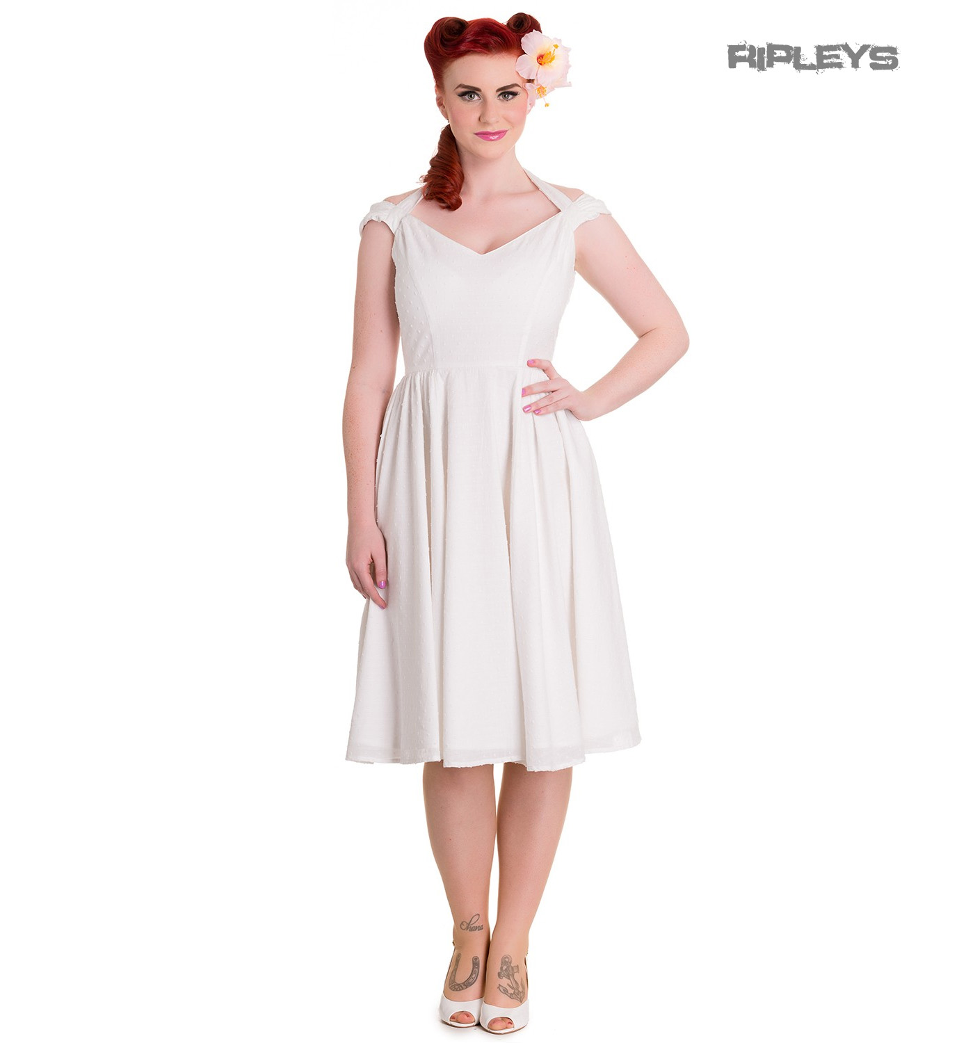Hell Bunny Pin Up Party 50s Dress Vintage Rockabilly EVELINE White ...