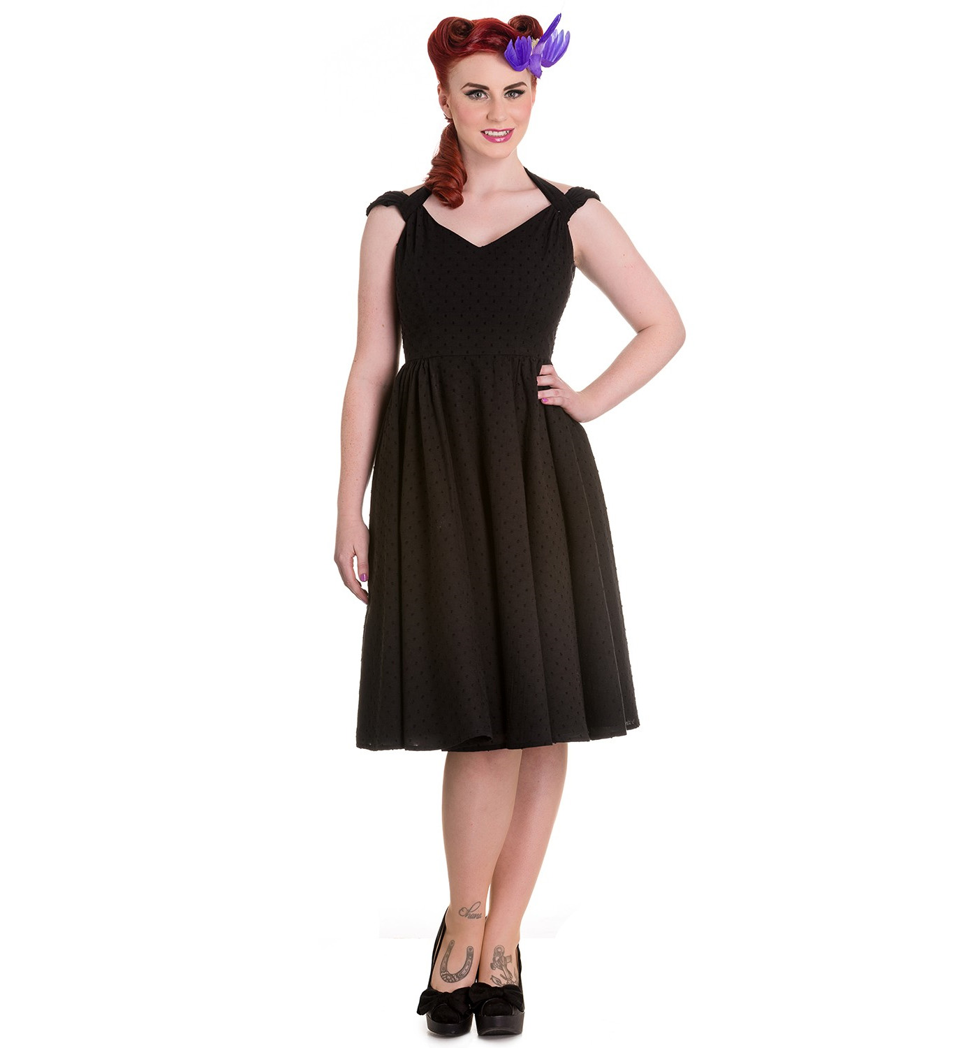 Hell-Bunny-Pin-Up-Summer-50s-Dress-Vintage-Rockabilly-EVELINE-Black-All-Sizes thumbnail 3