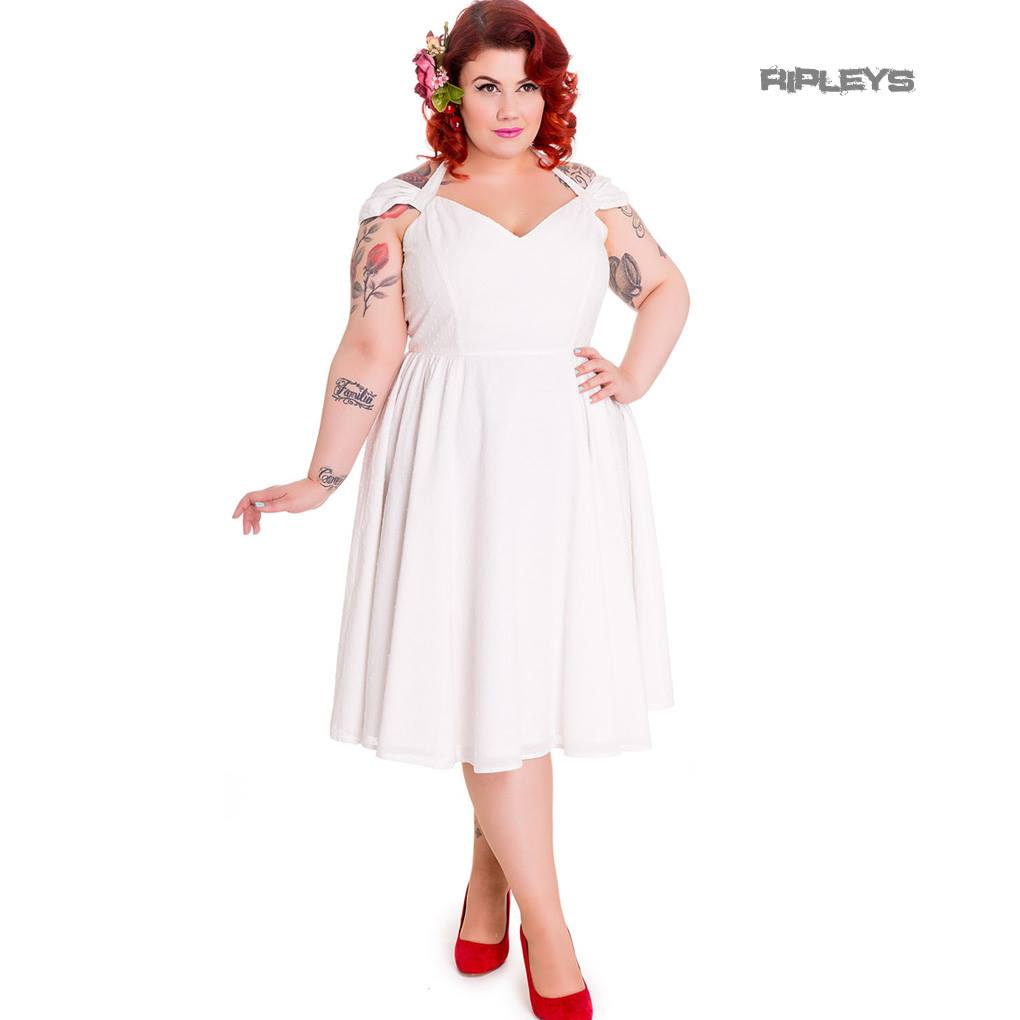 Hell-Bunny-Pin-Up-Party-50s-Dress-Vintage-Rockabilly-EVELINE-White-All-Sizes thumbnail 18