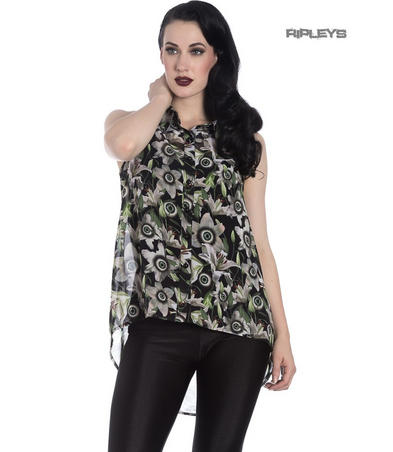 Hell Bunny Shirt Top Goth Punk Eyeballs Flowers PEEPERS Blouse All Sizes
