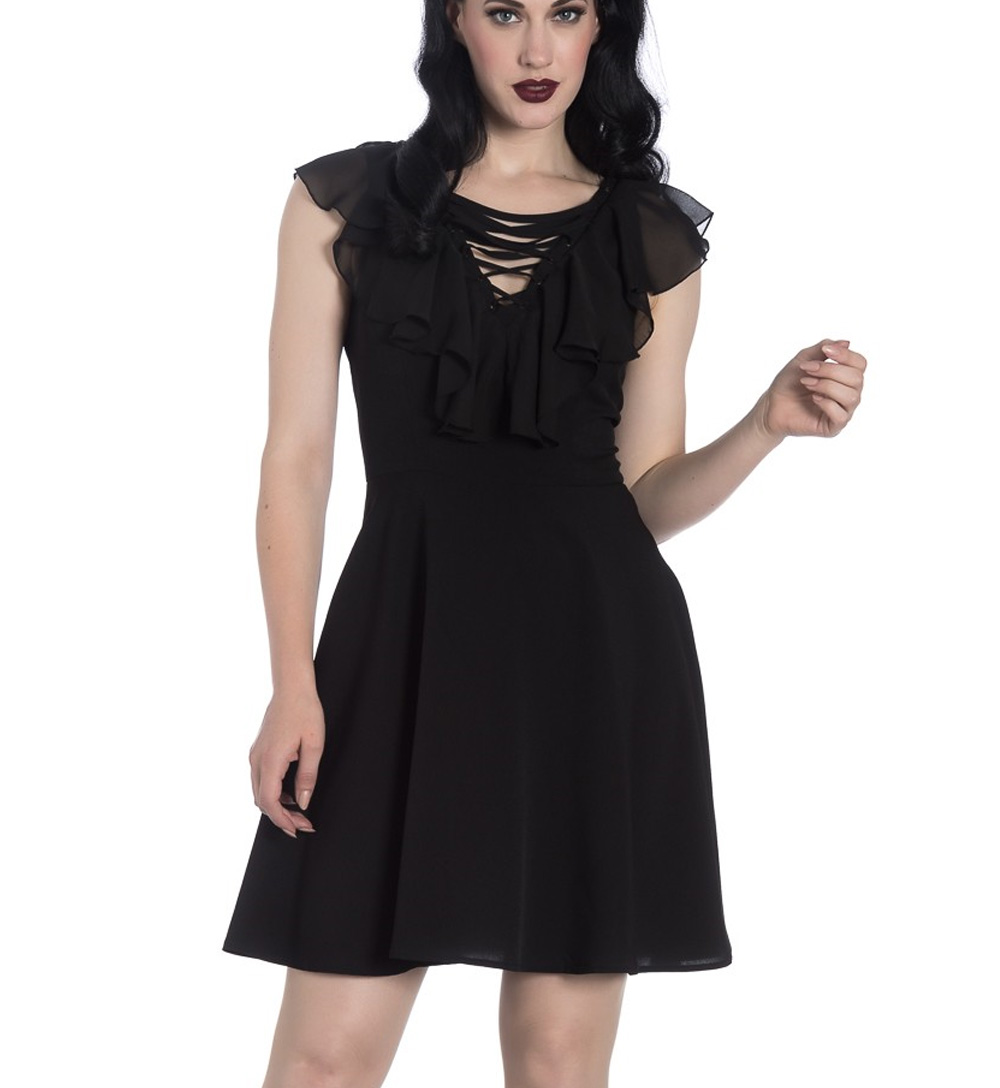 Sentinel Hell Bunny Floaty Lace Up Goth Witch Punk Mini Dress ONYX Black  All Sizes 1bd9b0b82