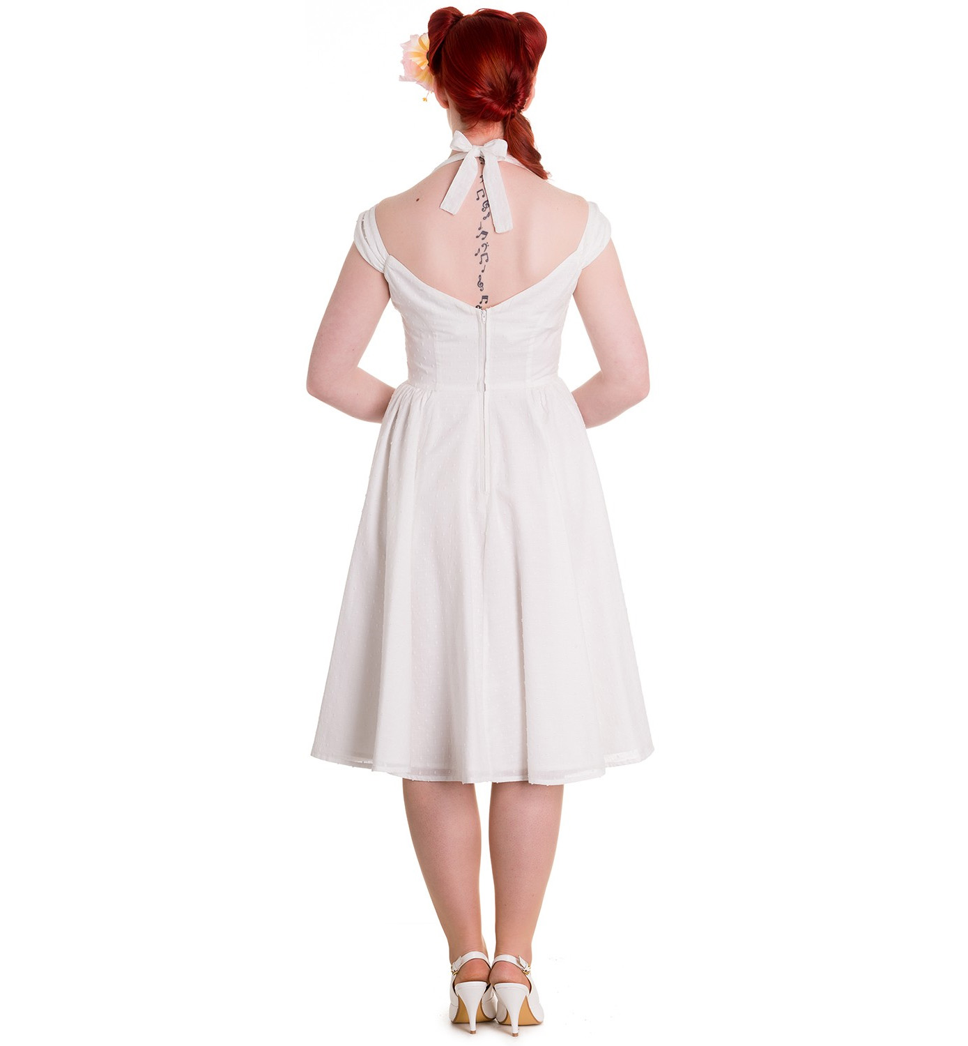 Hell-Bunny-Pin-Up-Party-50s-Dress-Vintage-Rockabilly-EVELINE-White-All-Sizes thumbnail 5