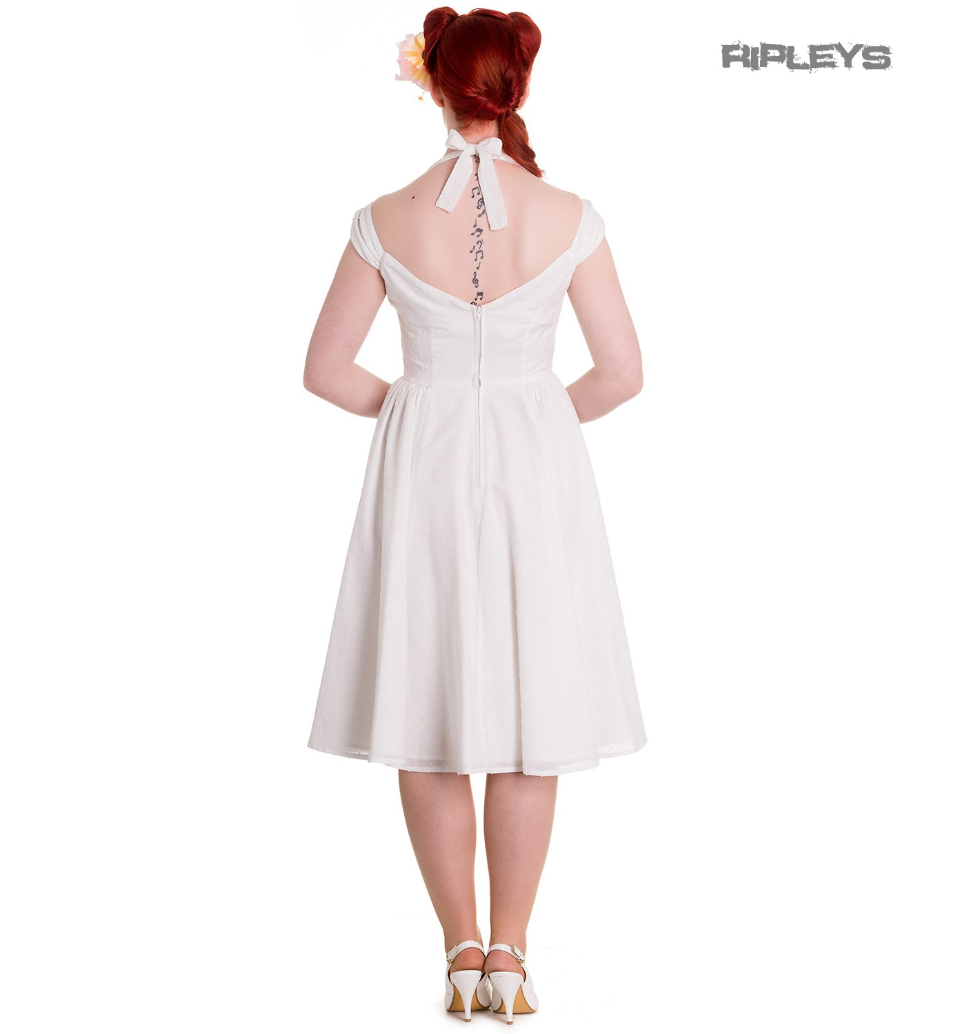 Hell-Bunny-Pin-Up-Party-50s-Dress-Vintage-Rockabilly-EVELINE-White-All-Sizes thumbnail 4
