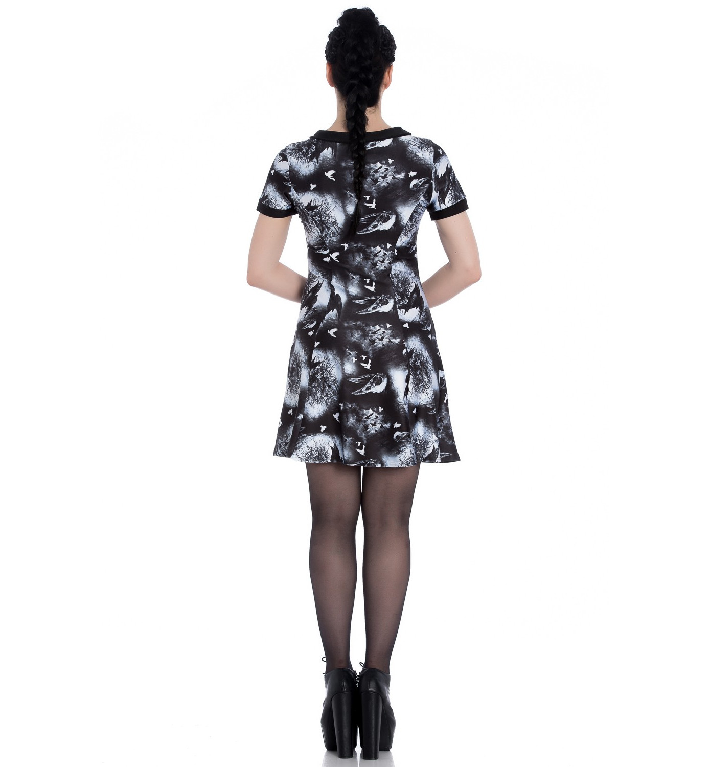 Hell-Bunny-Alternative-Goth-Punk-Black-Mini-Dress-CROWS-NEST-Witch-All-Sizes thumbnail 5