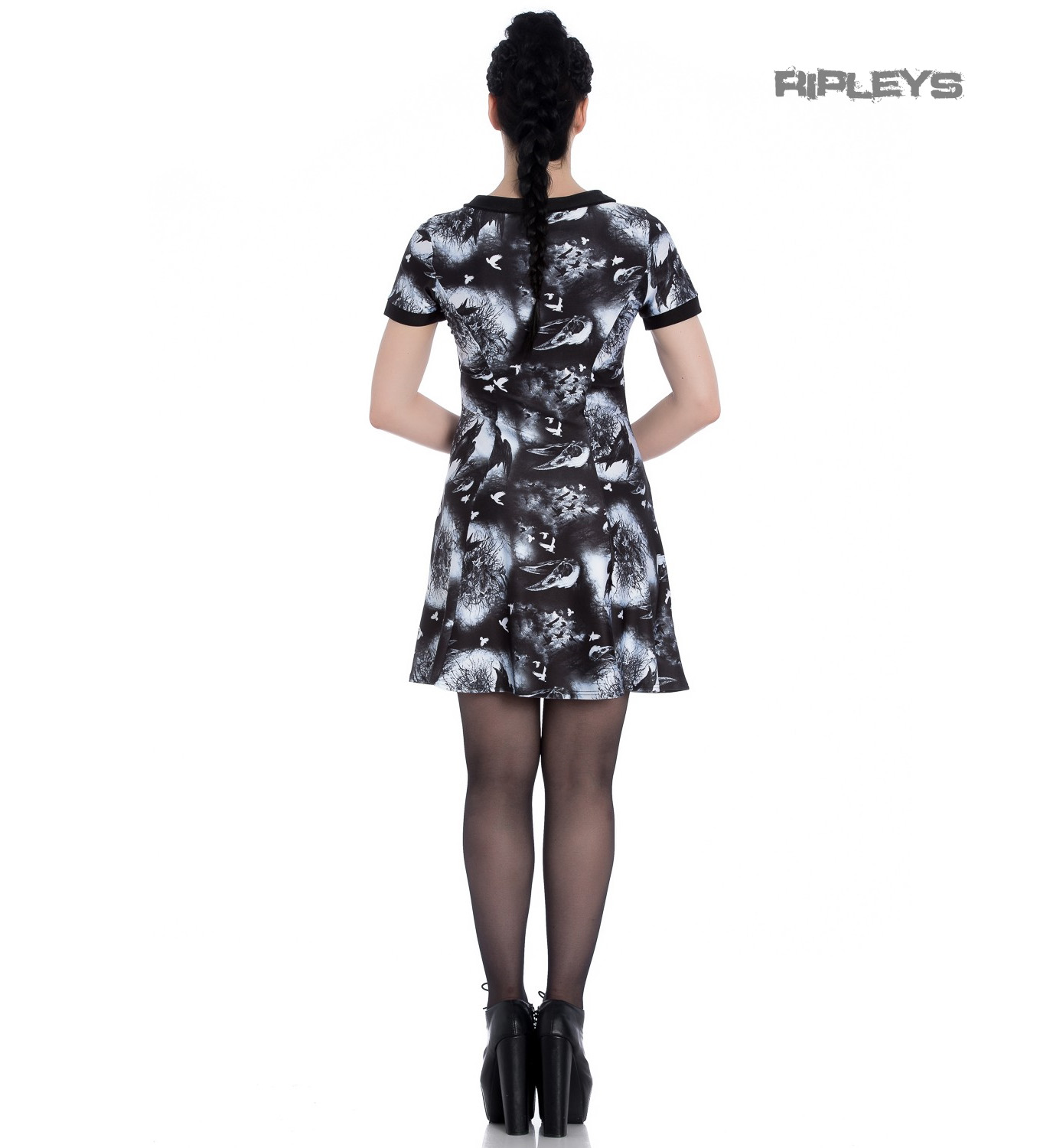 Hell-Bunny-Alternative-Goth-Punk-Black-Mini-Dress-CROWS-NEST-Witch-All-Sizes thumbnail 4