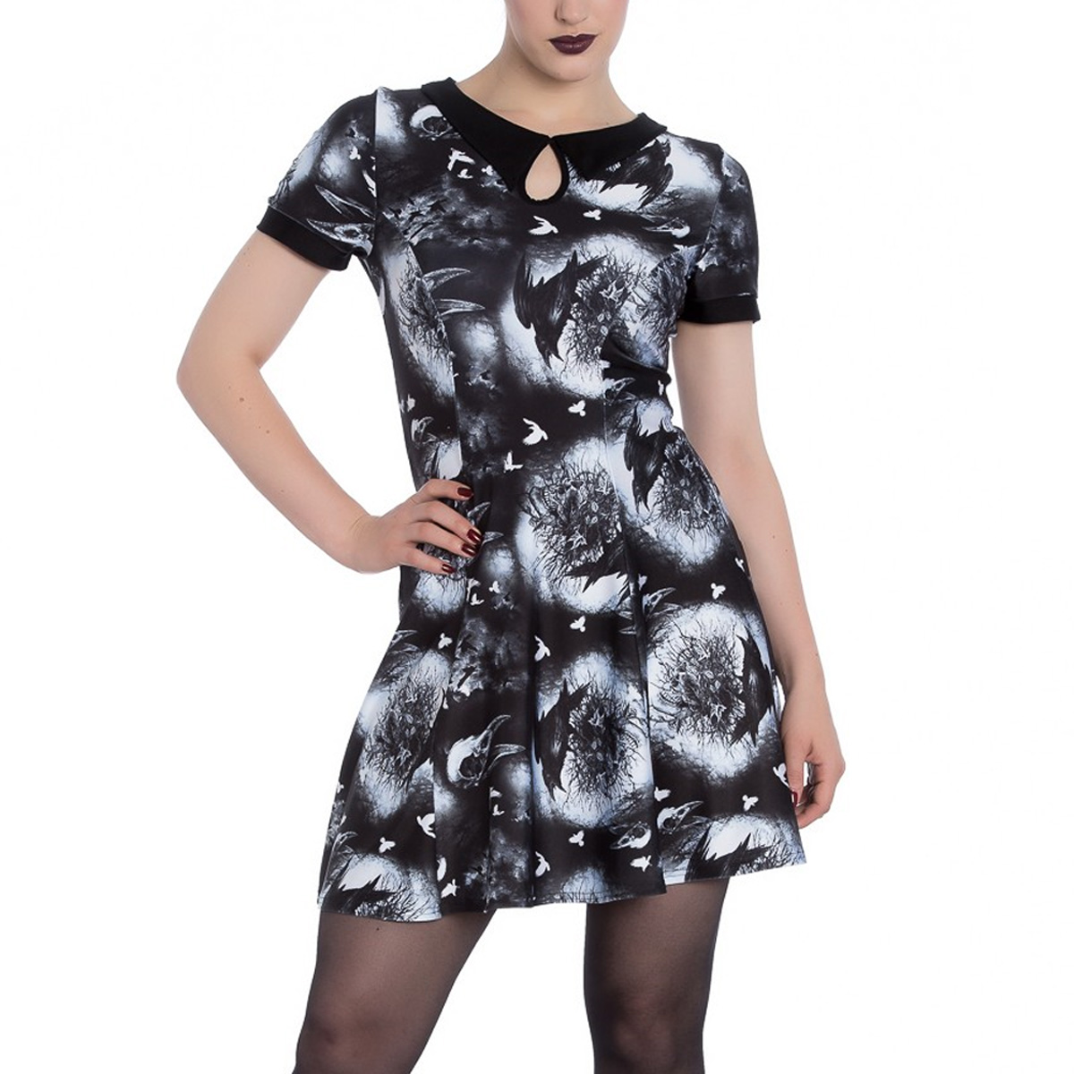 Hell-Bunny-Alternative-Goth-Punk-Black-Mini-Dress-CROWS-NEST-Witch-All-Sizes thumbnail 7