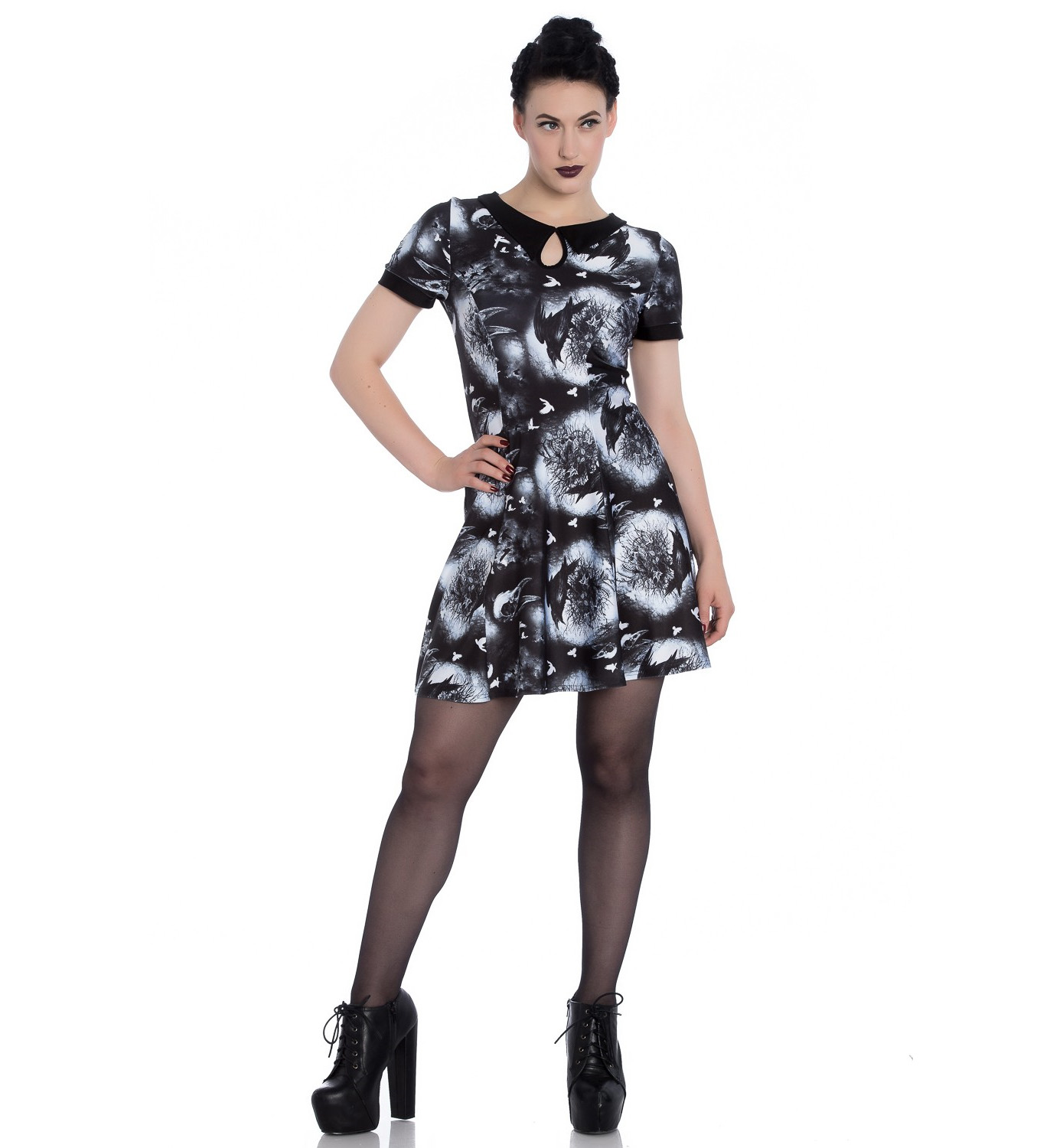 Hell-Bunny-Alternative-Goth-Punk-Black-Mini-Dress-CROWS-NEST-Witch-All-Sizes thumbnail 3