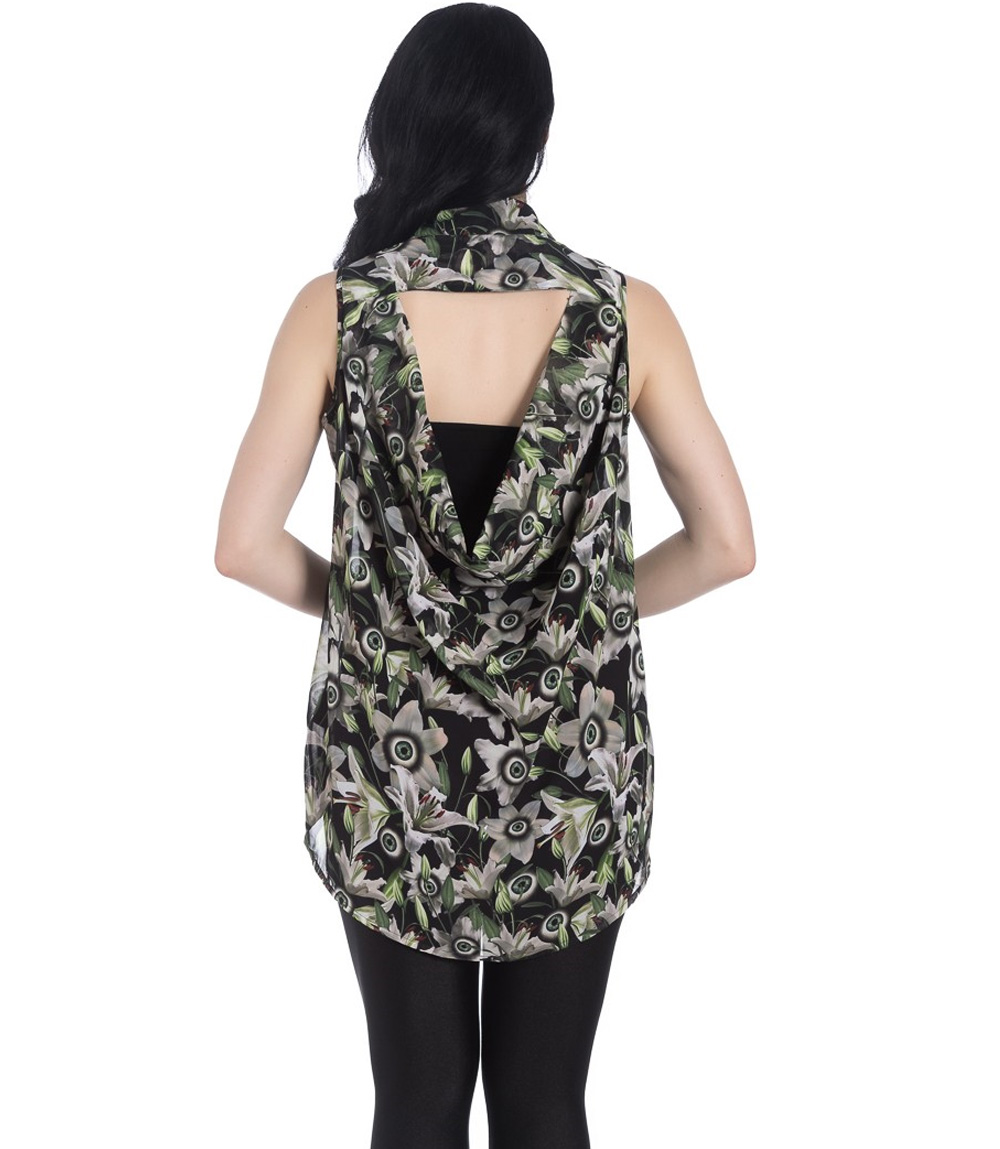 Hell-Bunny-Shirt-Top-Goth-Punk-Eyeballs-Flowers-PEEPERS-Blouse-All-Sizes thumbnail 5