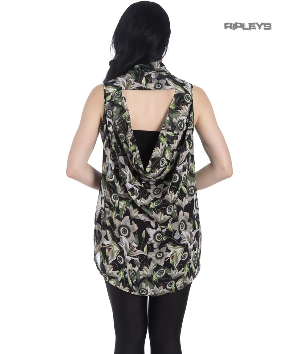 Hell-Bunny-Shirt-Top-Goth-Punk-Eyeballs-Flowers-PEEPERS-Blouse-All-Sizes thumbnail 8