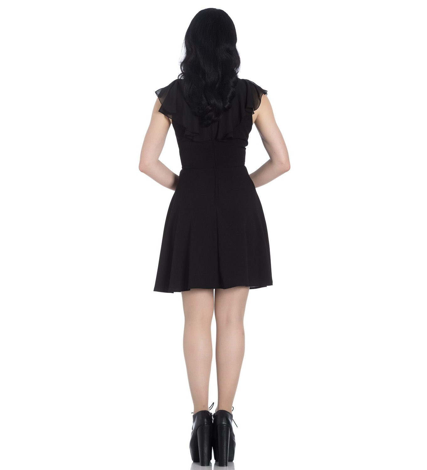 Hell-Bunny-Floaty-Lace-Up-Goth-Witch-Punk-Mini-Dress-ONYX-Black-All-Sizes thumbnail 7