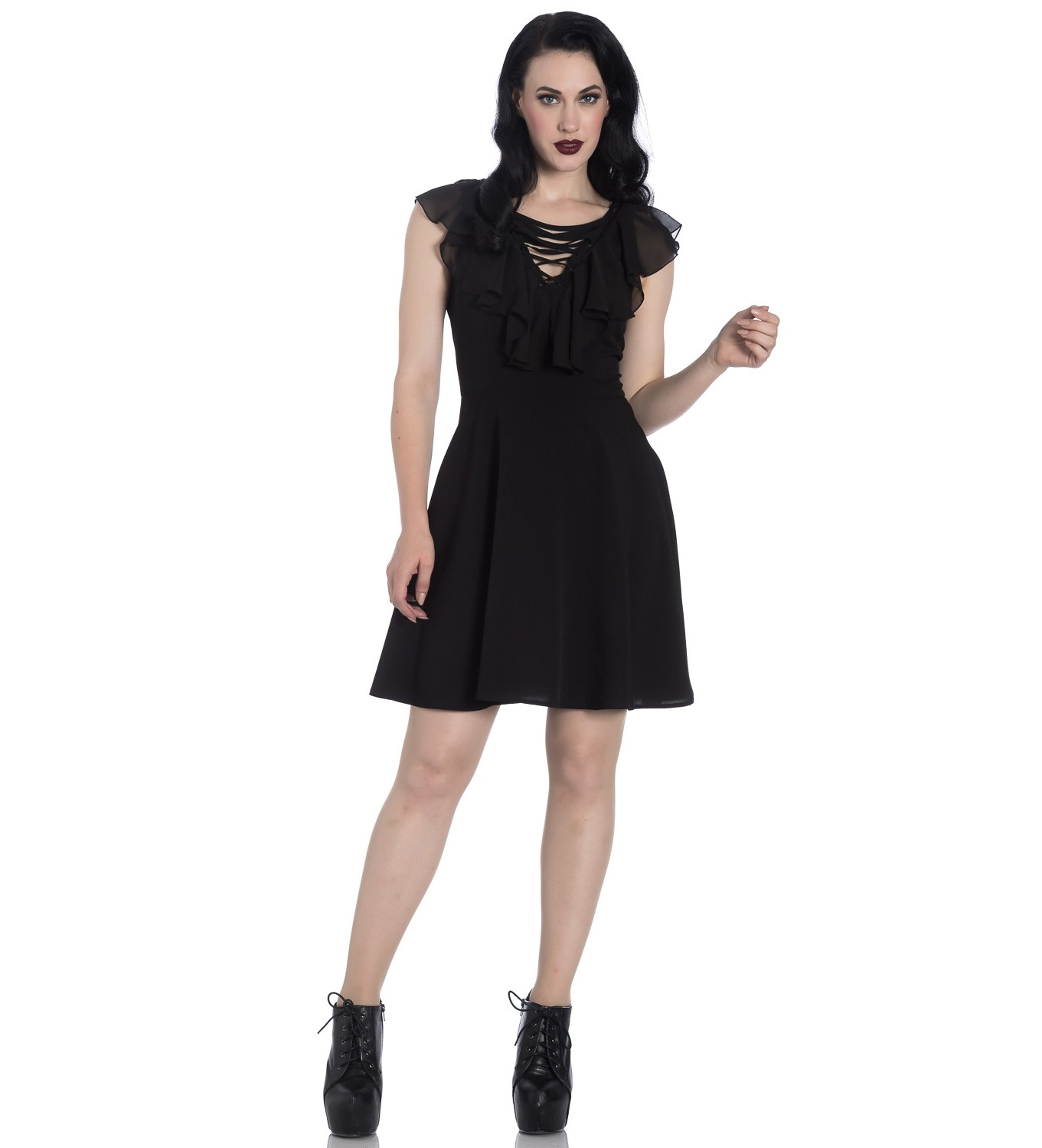 Hell-Bunny-Floaty-Lace-Up-Goth-Witch-Punk-Mini-Dress-ONYX-Black-All-Sizes thumbnail 3