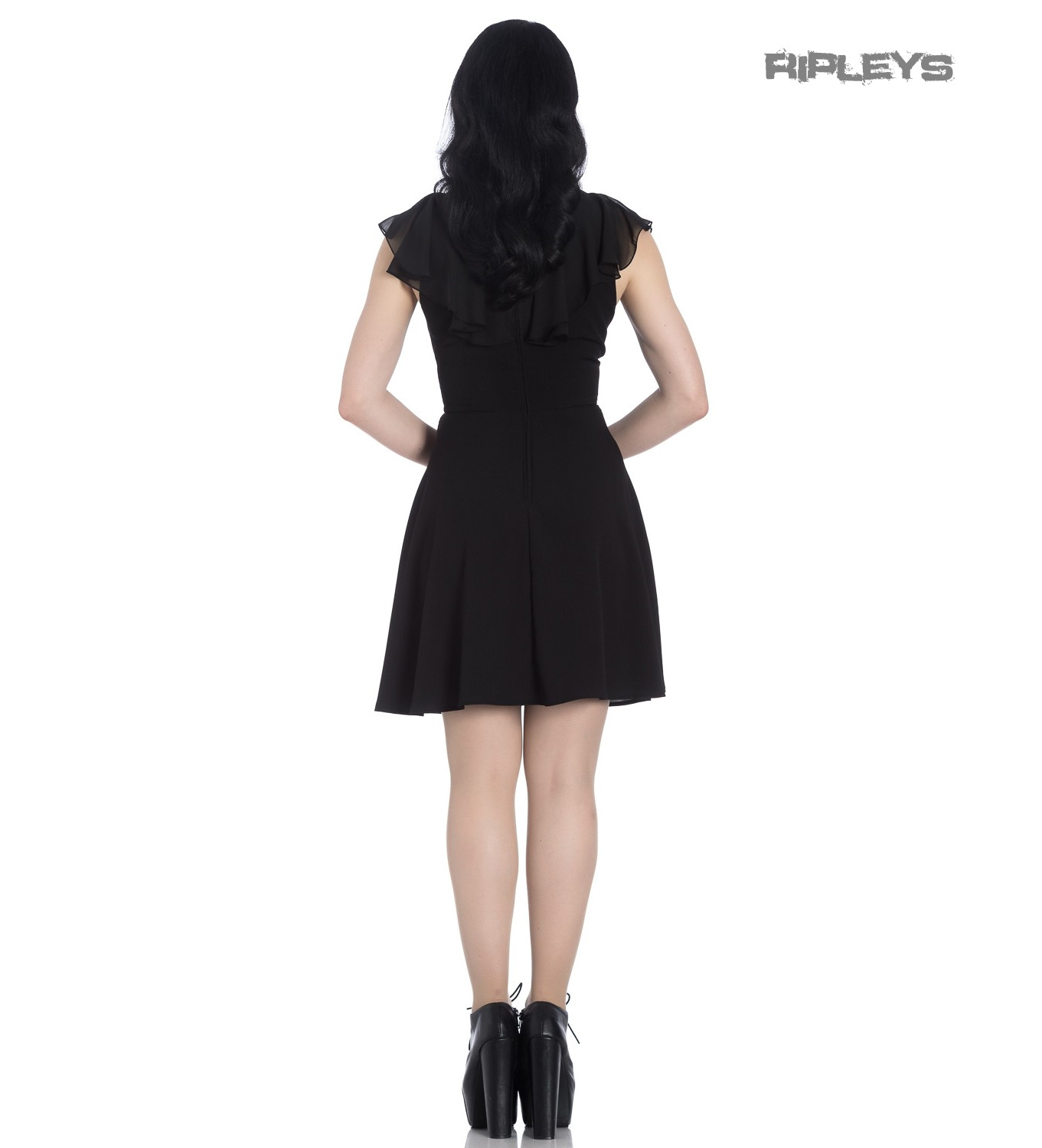 Hell-Bunny-Floaty-Lace-Up-Goth-Witch-Punk-Mini-Dress-ONYX-Black-All-Sizes thumbnail 6