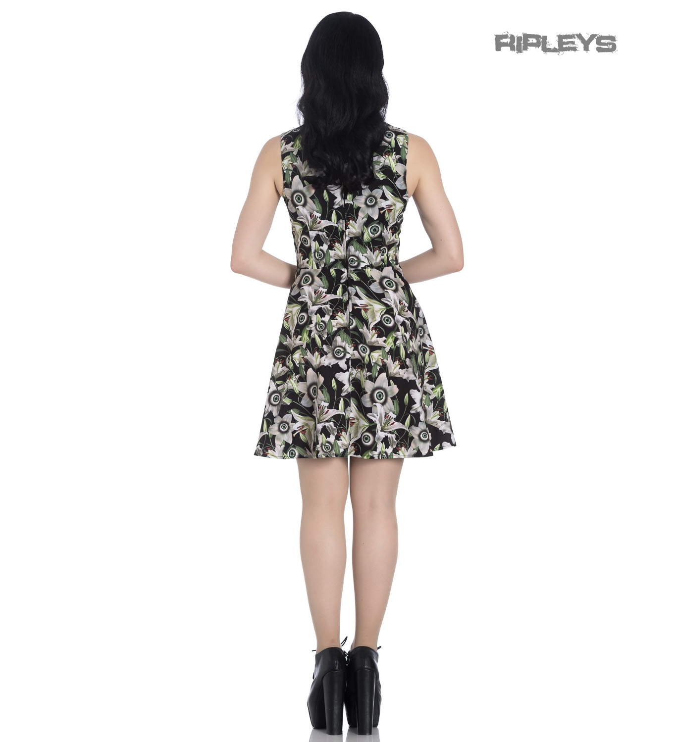 Hell-Bunny-Black-Lace-Up-Goth-Punk-Mini-Dress-PEEPERS-Eyeballs-Flowers-All-Sizes thumbnail 6