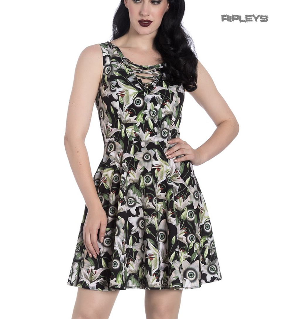 Hell-Bunny-Black-Lace-Up-Goth-Punk-Mini-Dress-PEEPERS-Eyeballs-Flowers-All-Sizes thumbnail 4