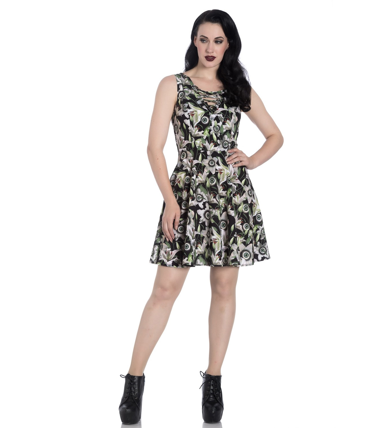 Hell-Bunny-Black-Lace-Up-Goth-Punk-Mini-Dress-PEEPERS-Eyeballs-Flowers-All-Sizes thumbnail 3