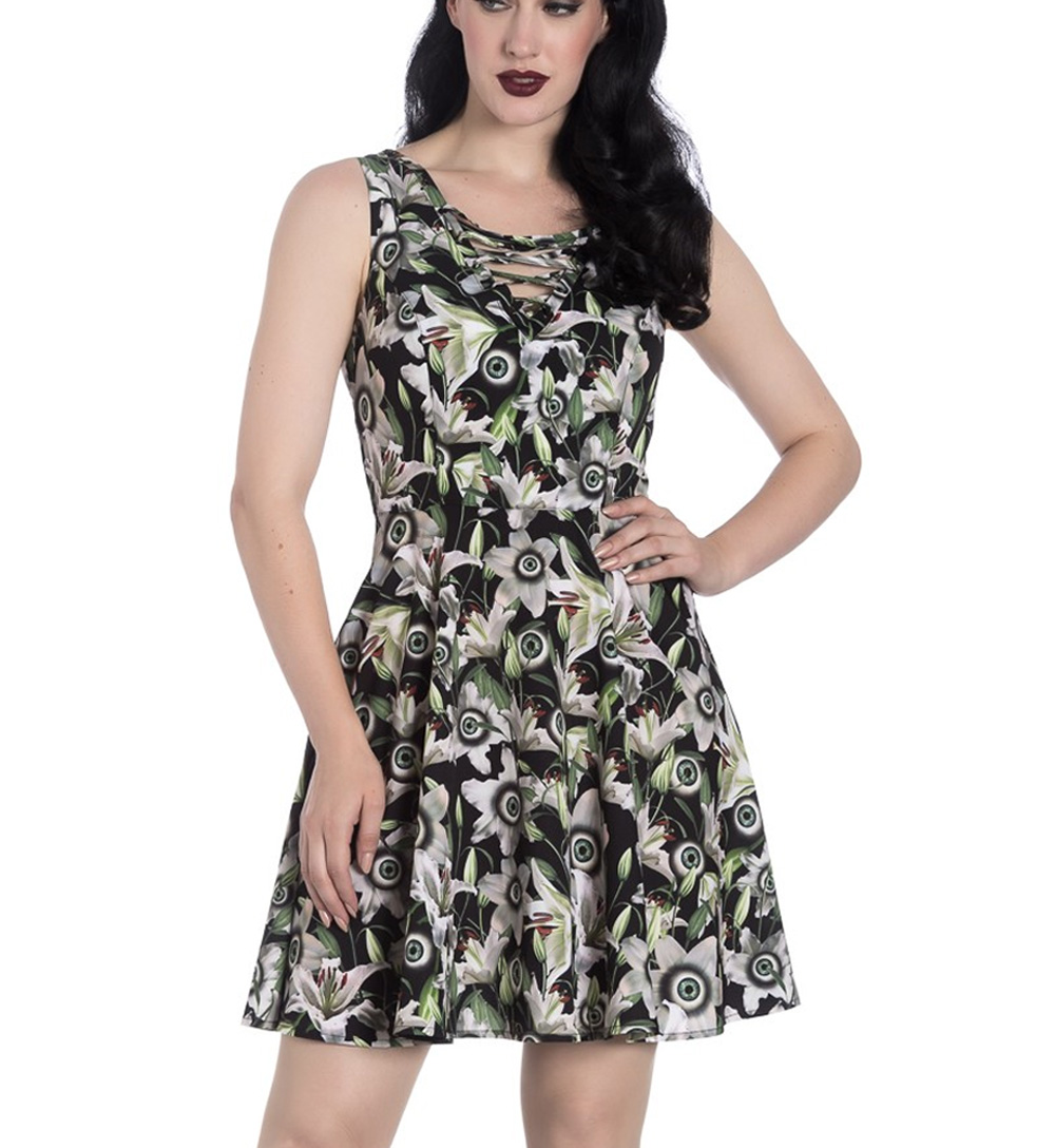 Hell-Bunny-Black-Lace-Up-Goth-Punk-Mini-Dress-PEEPERS-Eyeballs-Flowers-All-Sizes thumbnail 11