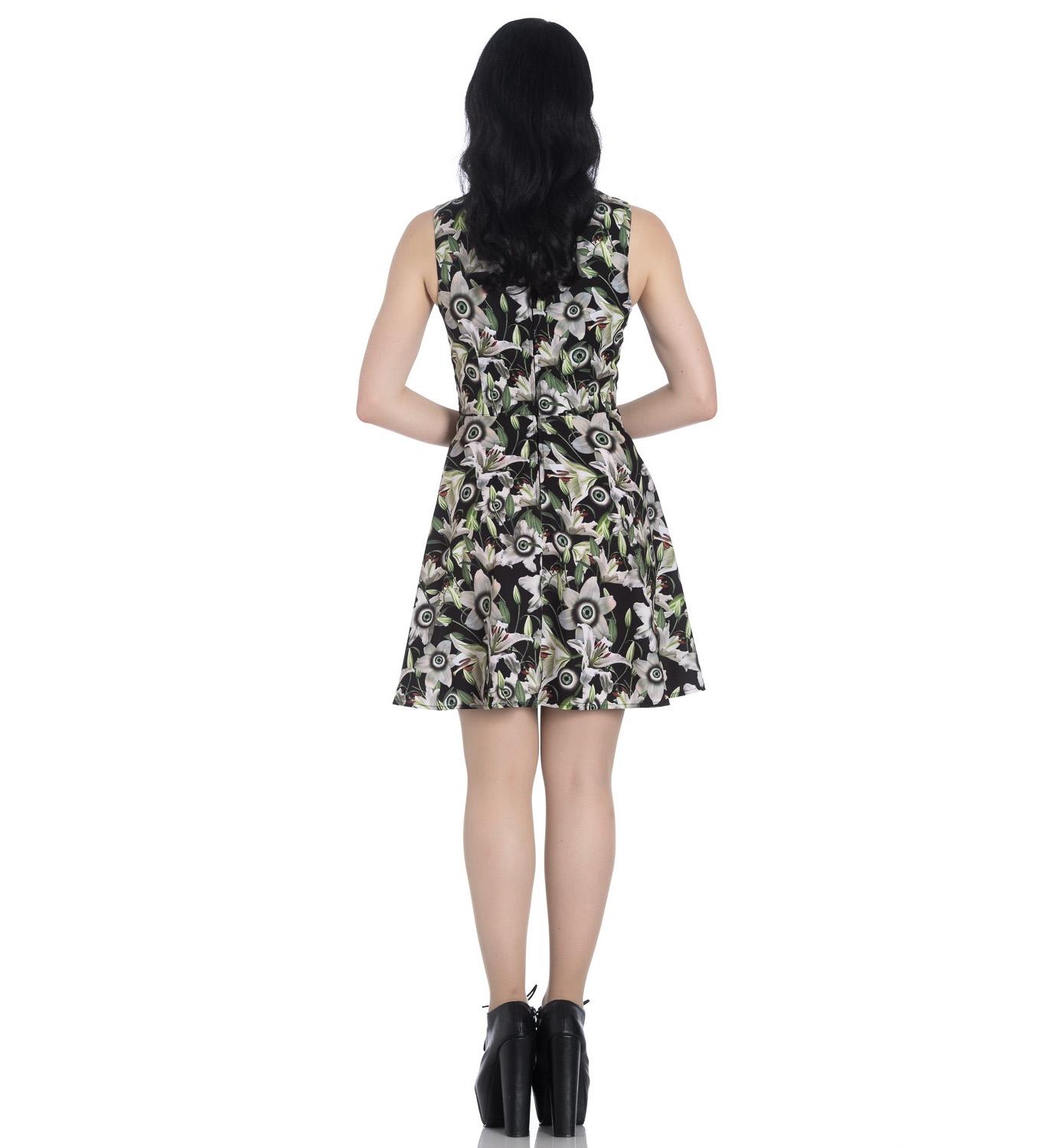 Hell-Bunny-Black-Lace-Up-Goth-Punk-Mini-Dress-PEEPERS-Eyeballs-Flowers-All-Sizes thumbnail 19